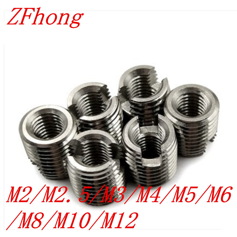M2 M2.5 M3 M4 M5 M6 M8 M10 M12  Self Tapping insert stainless steel Screw Bushing 302 slotted type Wire Thread Repair Insert wire thread insert installation tool braces tapping nut wrench 468 101 216