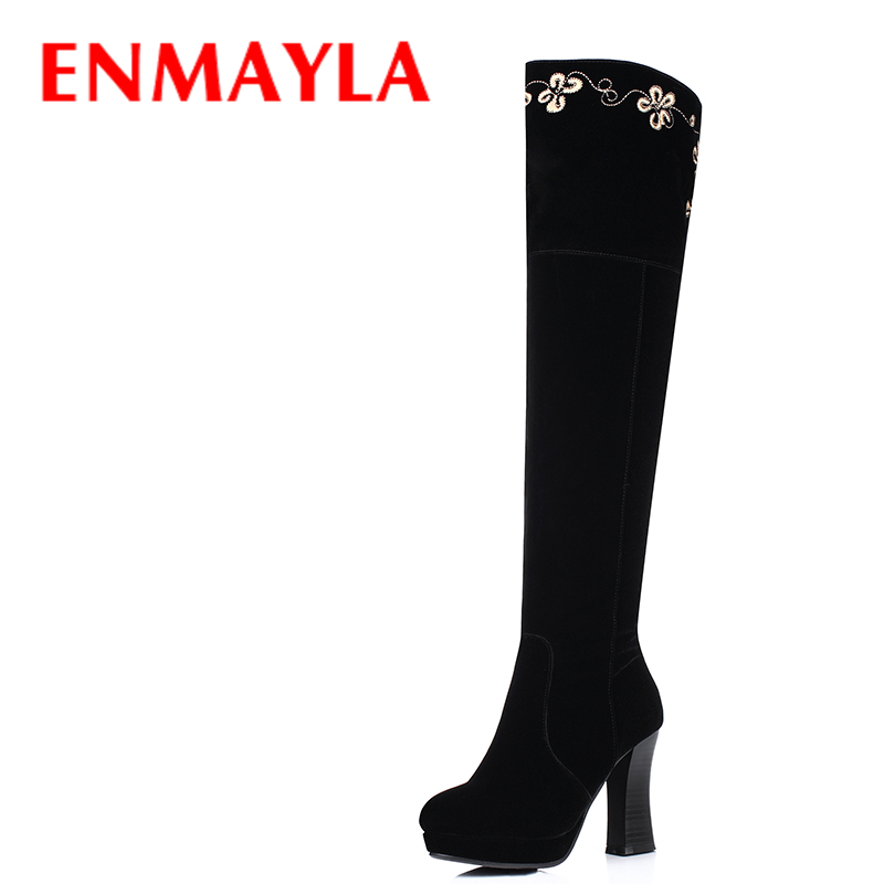ENMAYLA Winter Autumn Black Flock Embroider Platform Boots Women High Heels Shoes Woman Round Toe Knee High Boots enmayla autumn winter chelsea ankle boots for women faux suede square toe high heels shoes woman chunky heels boots khaki black