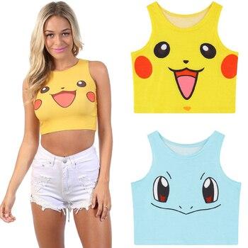 Pokemon Pikachu chaleco Cosplay traje Bulbasaur 3D dibujos animados verano Sexy camiseta sin mangas Top Jigglypuff camisa