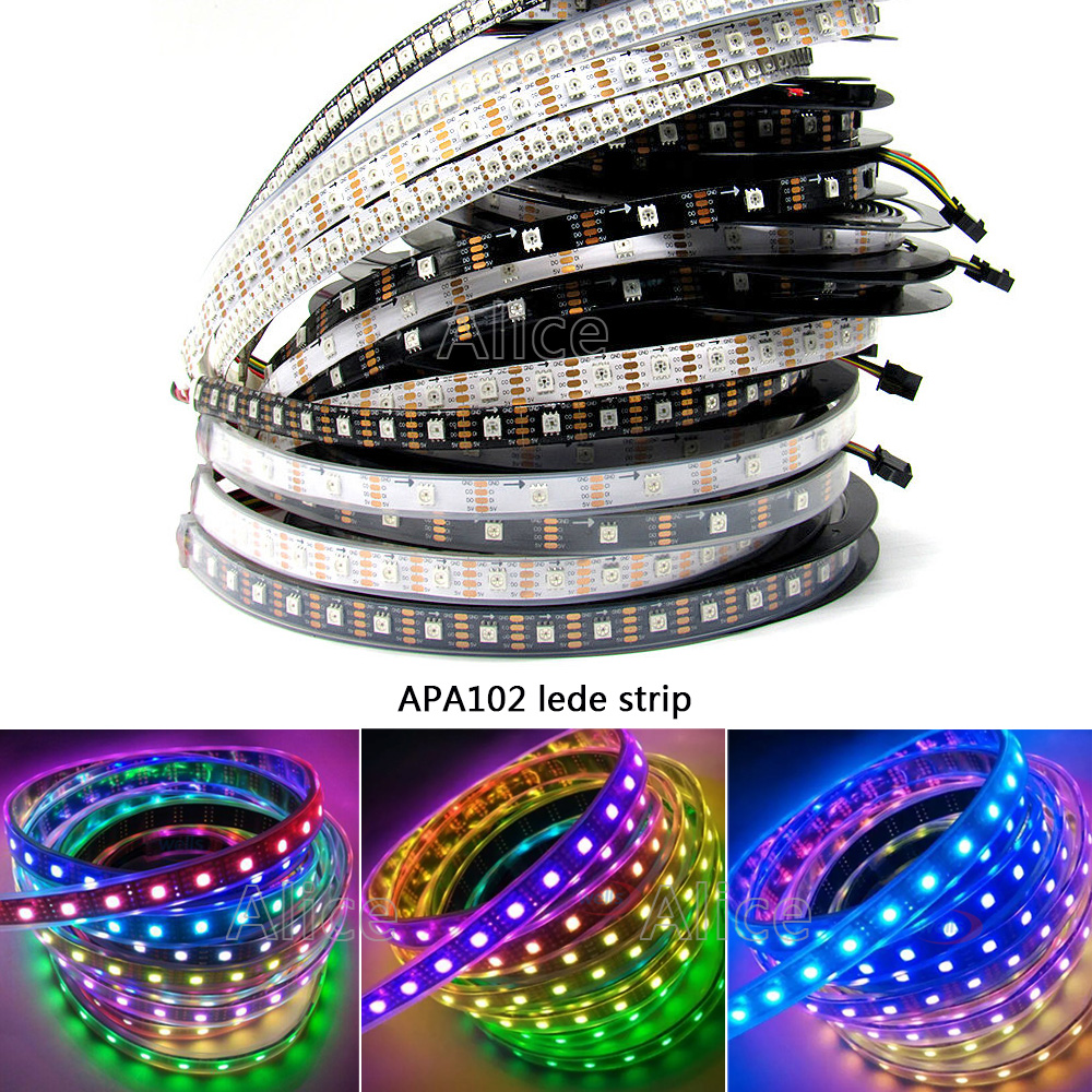 5m 30/32/36/48/60/72/96/144 leds/pixels/m APA102 Smart led pixel strip,IP30/IP65/IP67 DATA and CLOCK seperately DC5V