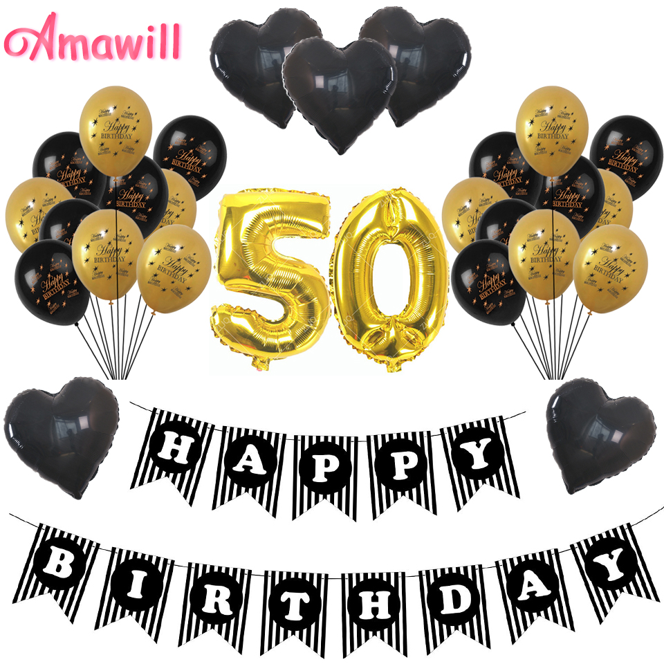 Amawill Cheers 50th Birthday Gold 32inch Number Balloons Happy 50 Years Old Party Decorations Men Women