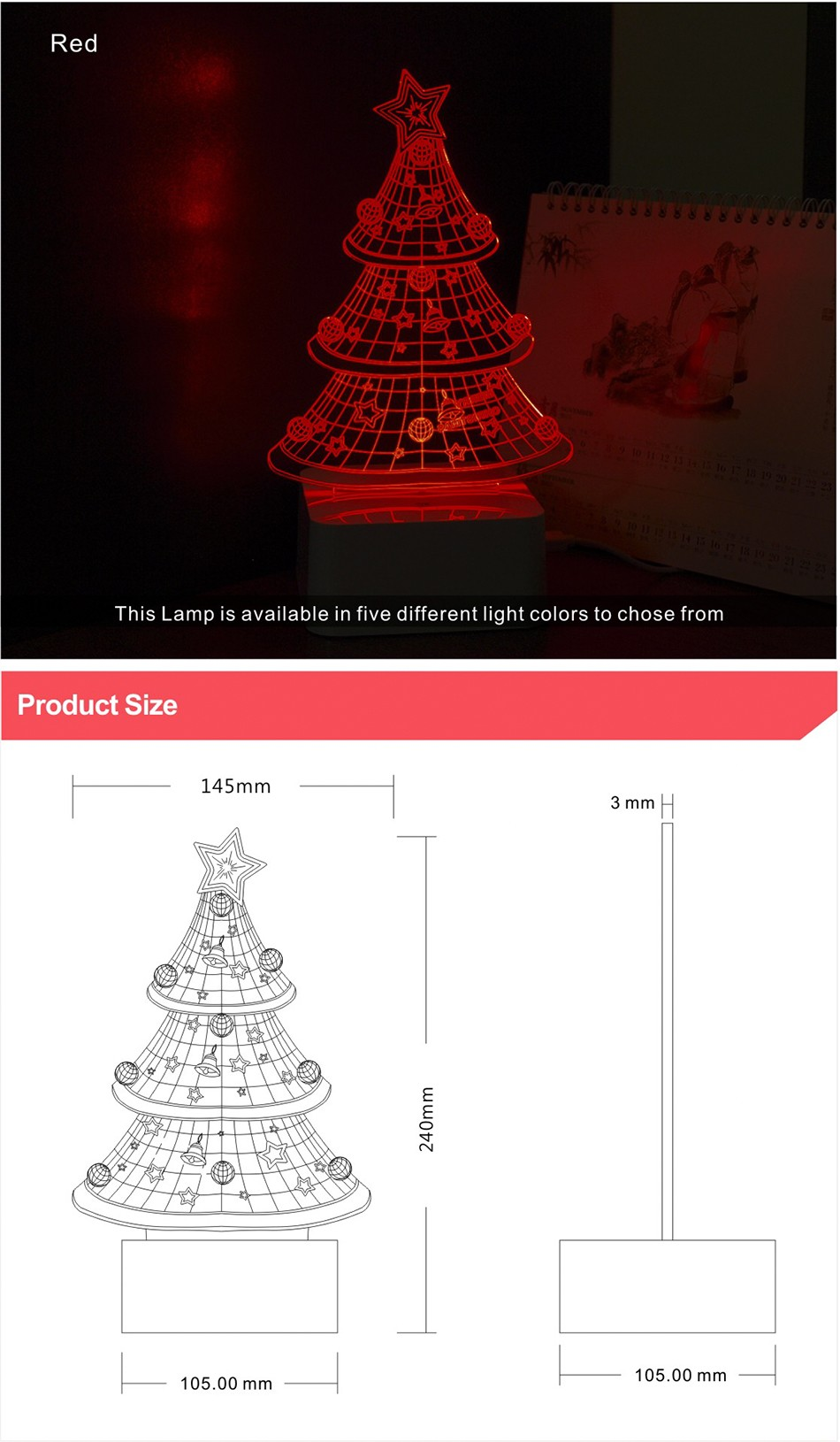 USB Night Light Star 3D led Christmas Tree Dimmable Table Lamp (5)