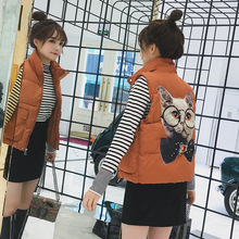 Cute kitten pattern design down cotton vest new fashion fresh temperament wild coat loose Winter womens jacket