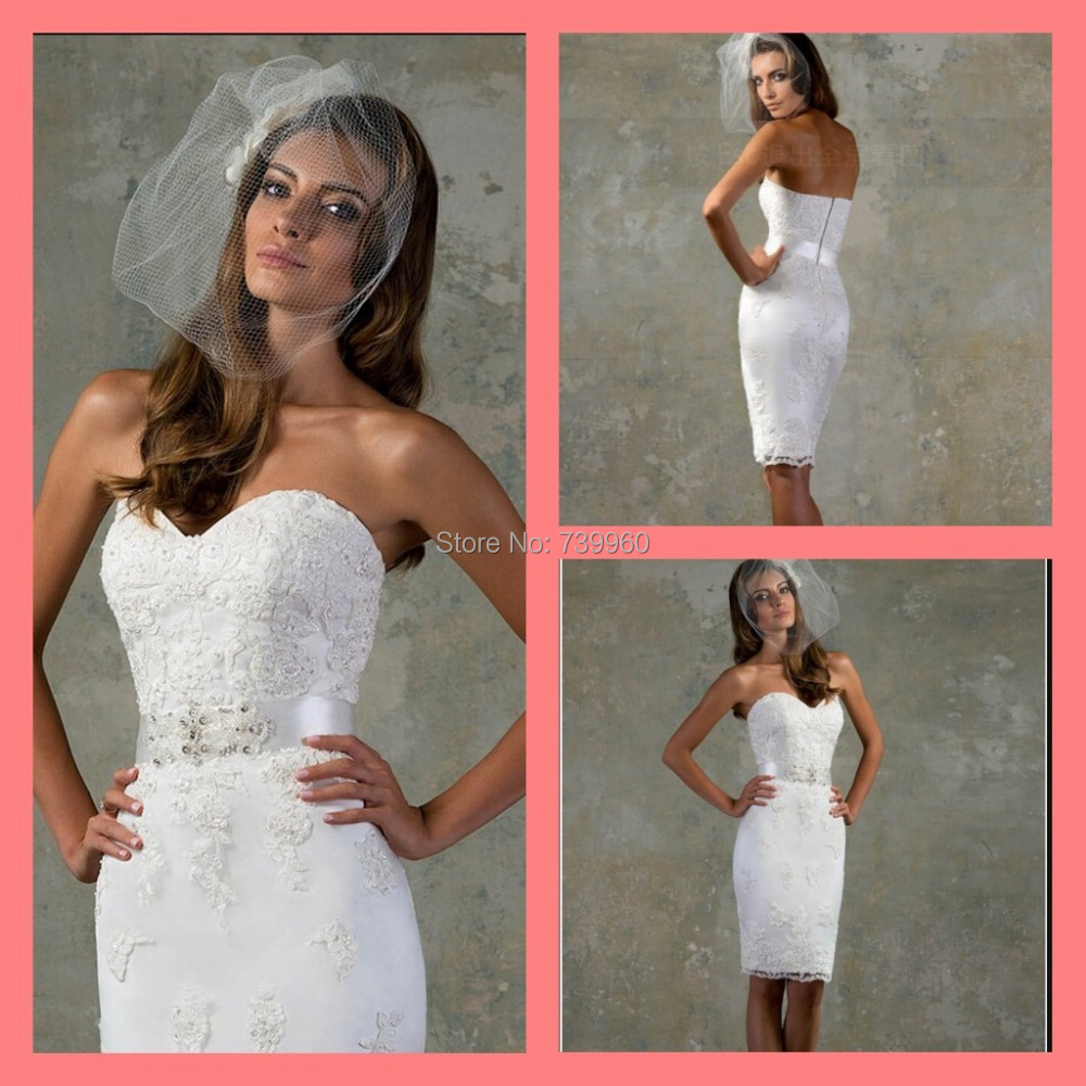 2015 chic admirable wedding dress short knee length white/ivory lace appliqued sheath column sashes beads bridal gowns