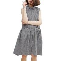 LD Helly Womens Summer Casual Preppy Style Dresses 2017 Vestidos 1950s Retro Vintage Shirt Design Sleeveless