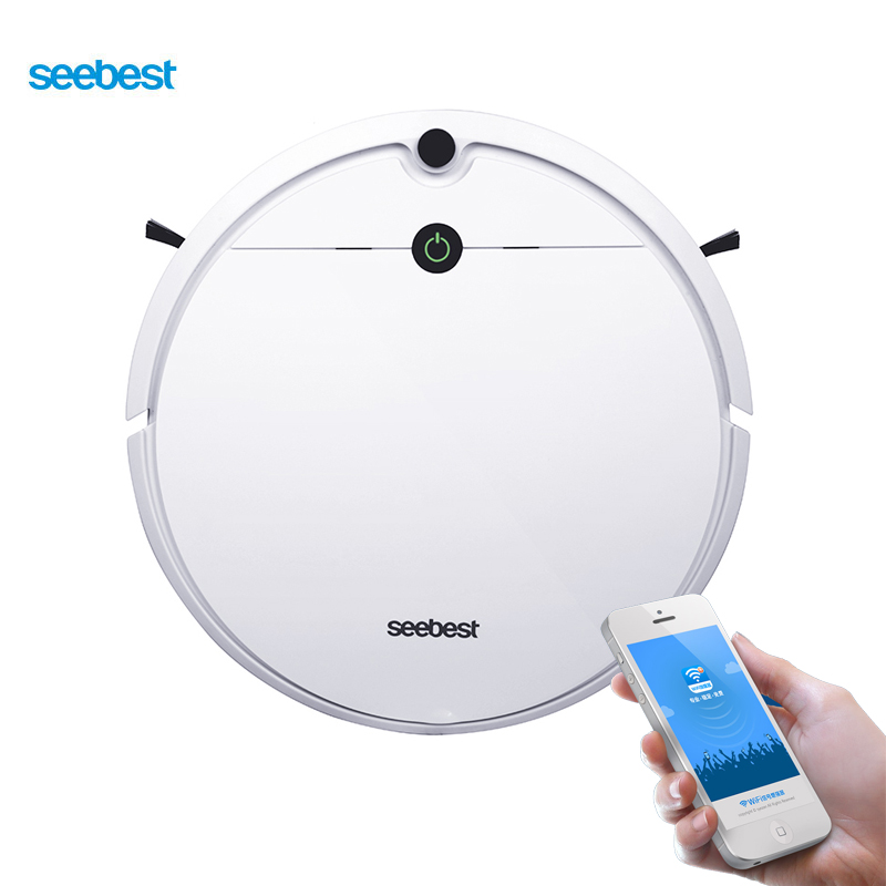 Seebest D752 WIFI APP Control Robotic Vacuum Cleaner with Wet Mopping and Gyroscope Planned Clean Route, Time Schedule liectroux x5s robotic vacuum cleaner wifi app control gyroscope navigation intelligent mapping planned wet and dry cleaning