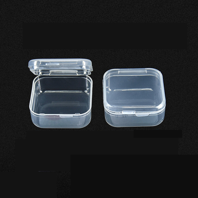 3pcs Lot Clear Lidded Mini Square Plastic Earplug Box For Storage Coin Small Parts Jewelry
