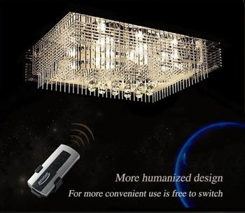 2017 novo led lustre de cristal retangular sala estar moderna romântico lâmpada iluminação quarto lâmpadas led e27