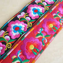 C47 China Miao Tribal Embroidered Decor Belt Cotton Multi Flowers