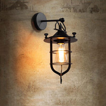 American retro loft iron wall lamp balcony aisle corridor stair pub cafe restaurant lamp front door wall light wall sconce bra retro lamp wall sconce modern wall light glass ball dining bedroom e27 wall lamp restaurant aisle corridor pub cafe wall lights