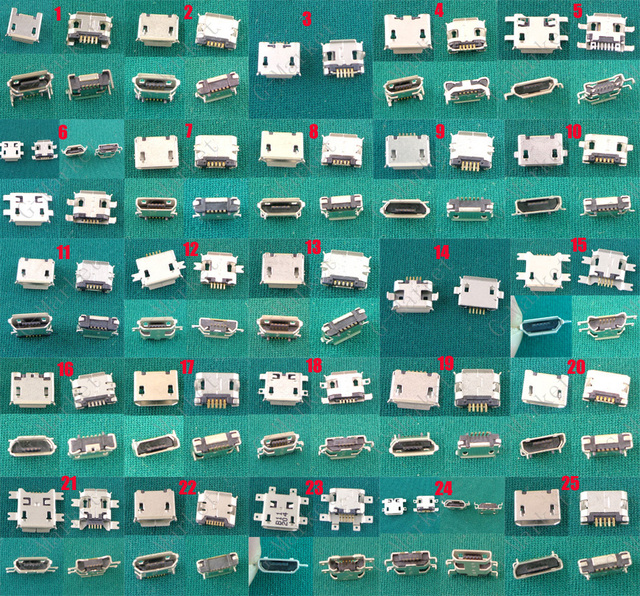 500 × 5 ピン 7 ピンミニ micro usb ジャック usb コネクタ充電 v8 ポートサムスン、 Htc レノボ、 Zte 携帯電話タブレット pc 、 mid
