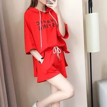 Women Loose Simple Letter Print Hooded Short-sleeved Tops+ Drawstring Solid Color Casual Shorts Two-Piece Set Femme 2019 Summer недорого