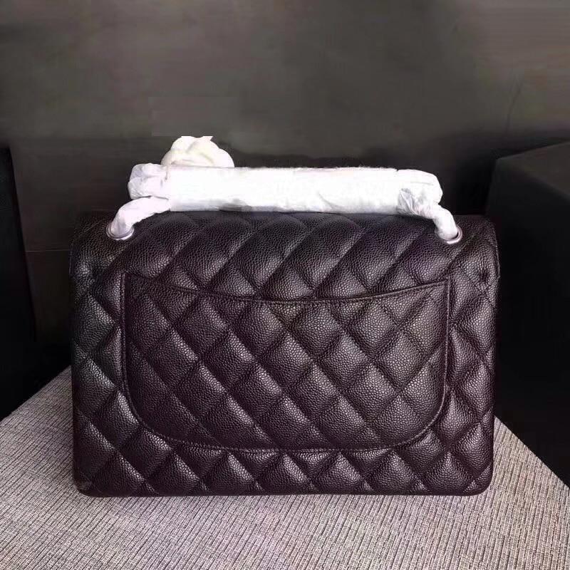 top quality calfskin caviar leather bag large flap handbag women Silver chain luxury brand shoulder bags size 30 cm elishacoy caviar