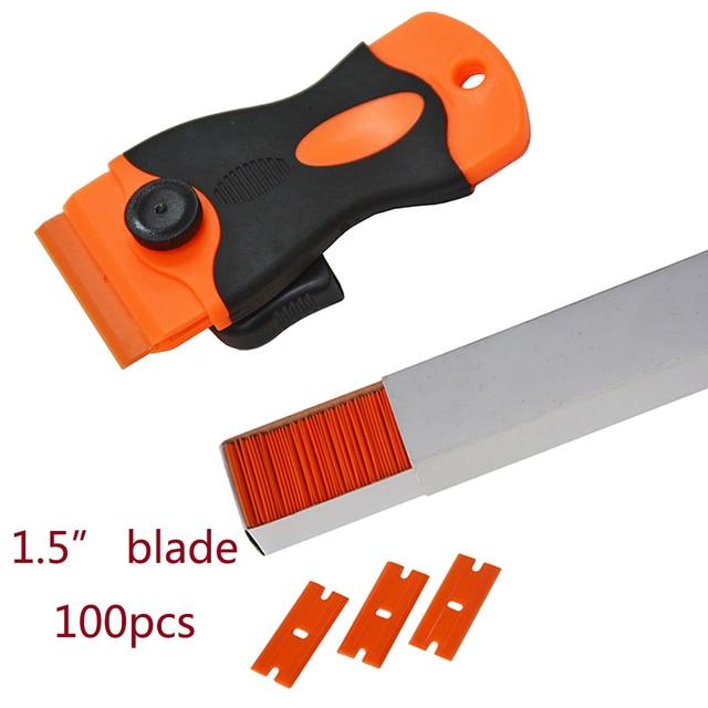 """100pcs Car Label Glue Residue Sticker Remover Plastic Blade Triumph 1.5"""" Scraper with Plastic Razor Blade Edges CN051P+CN053"""
