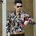 2016 Spring Mens Flower Shirts Vetement Homme Hollow Transparent See Through Mens Shirts Club Outfits Slim Fit Baroque Silk Sexy