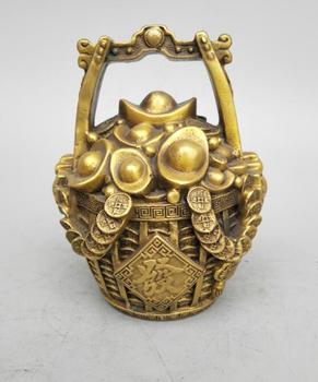 China's Seiko carving brass the gold money barrel form wealth statue