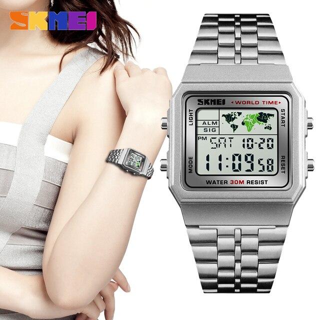 8c812c730f9 SKMEI 1338 Moda De Luxo Mulheres Relógios de Prata À Prova D  Água Esporte  Digitais