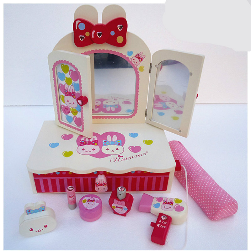 Children Simulation Wood Strawberry Open Dollhouse Dresser Table Girl Princess Play Make-up Toy for Girl Gift beiens furniture doll 19 pcs children kids baby girl s cute lovely toy fashion makeup chair make up table set dresser