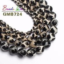 Natural Stone Faceted Black Tibetan Mystical Old Agata Spherical Beads for Jewelry Making 8 10 12mm Diy Bracelet Necklace 15''
