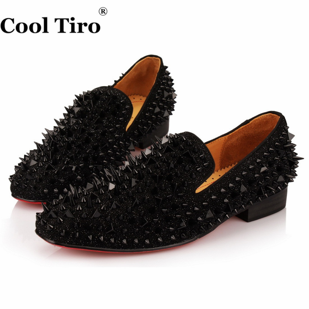 Dropwow COOL TIRO Black Spikes Rhinestones Glitter Men Loafers ... 97c7a861270d