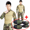 Military uniform army combat shirt + tactical pants knee pads highlander camouflage fatigues tatico softair paintball equipment