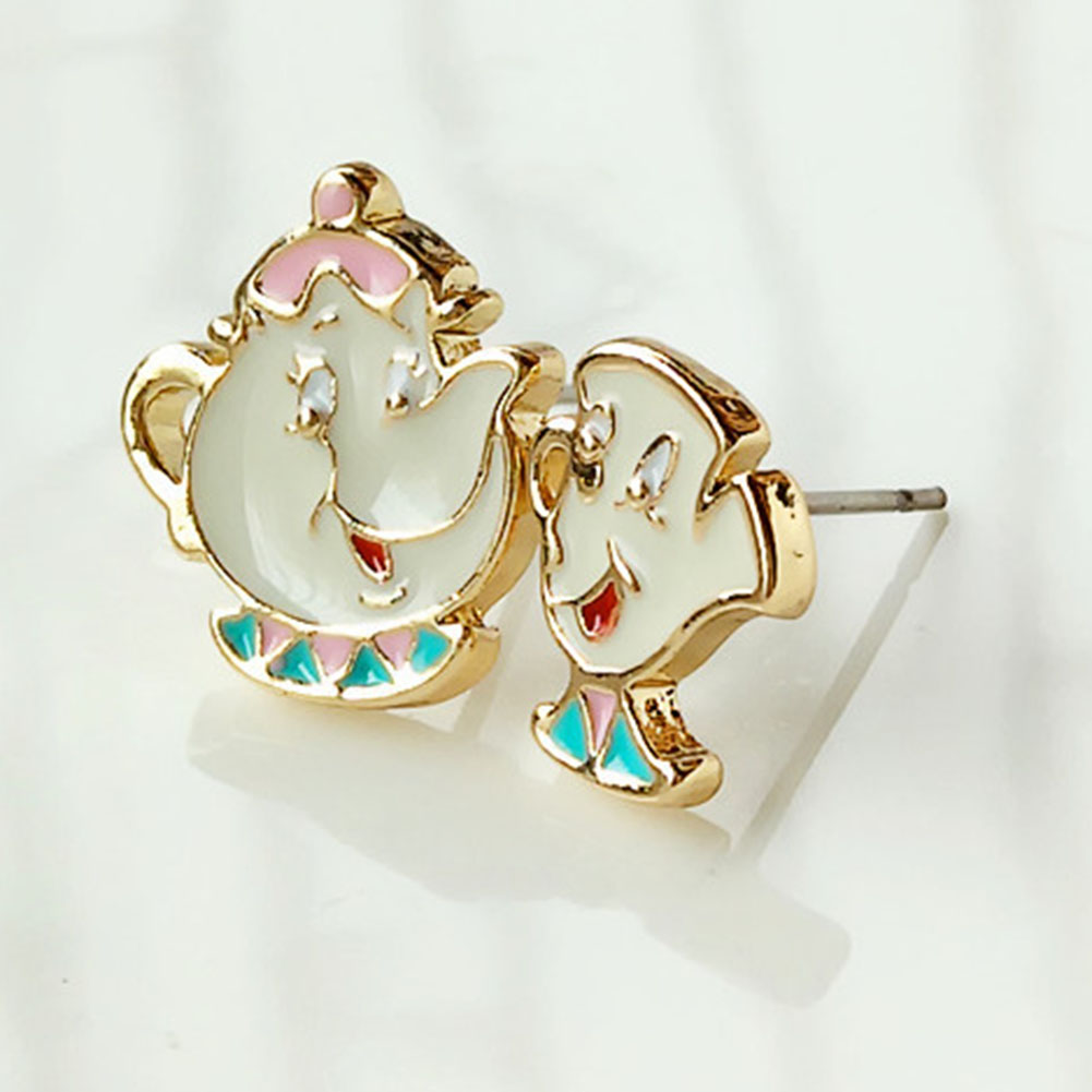 Alloy Enamel Lovely Cartoon Beauty And The Beast Earrings Cosplay Jewelry Famous Movie Cups Stud Earring