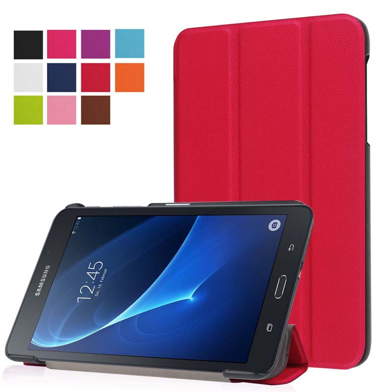 Ultra Slim Custer 3-Folder Folio Stand PU Leather Magnetic Cover Case For Samsung Galaxy Tab A 7.0 SM-T280 T280N T285 7 Tablet luxury flip stand case for samsung galaxy tab 3 10 1 p5200 p5210 p5220 tablet 10 1 inch pu leather protective cover for tab3