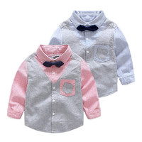 Boys Shirts Cotton Children Clothing Long Sleeves School Uniform False Two Gentleman Shirt 2017 Brand Boy