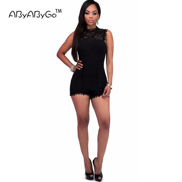 22304b006 ABYABYGO 2018 Sexy Elegante Macacão Curto Mulheres Macacão de Renda Preta  Bodycon Macacões Para As Mulheres
