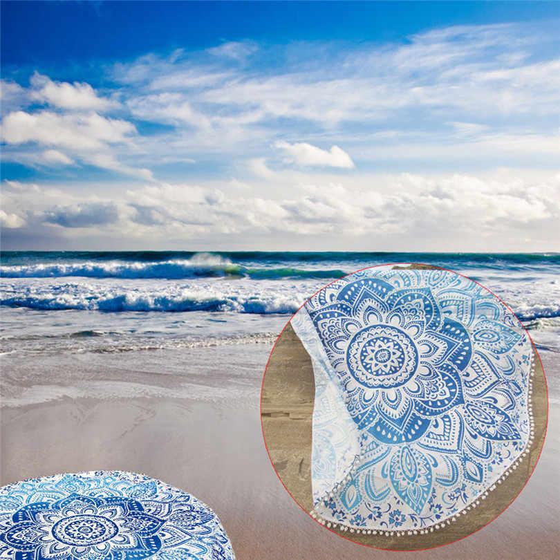 2019 # Toalla de playa de moda duradera Pareo redonda playa piscina hogar ducha toalla manta mantel Yoga estera