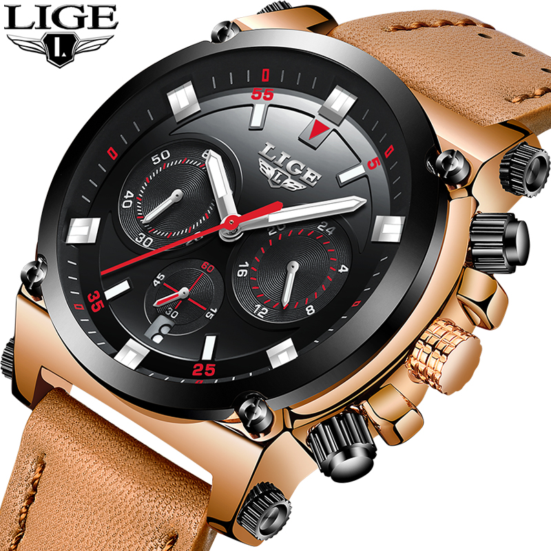 2018 New Relogio Masculino LIGE Mens Watches Top Brand Luxury Male Leather Quartz WristWatch Military Sport waterproof men Watch oulm mens designer watches luxury watch male quartz watch 3 small dials leather strap wristwatch relogio masculino