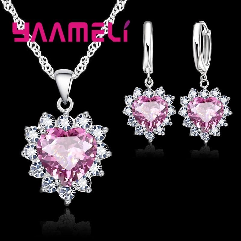 New Suit Heart Shape Fashion Women Wedding Silver Jewelry Set Crystal Earring Necklace Pendant Rhinestone Hot Sale
