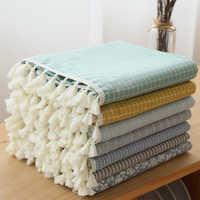 Japão estilo linho algodão borla toalha de mesa retangular borda carta impresso à prova de poeira capas de mesa
