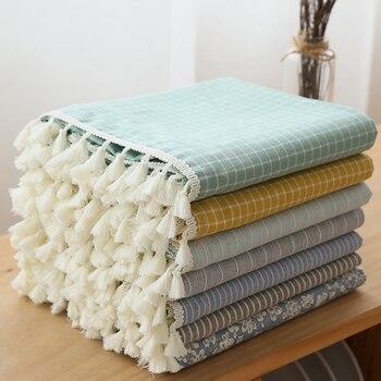 Mantel de lino de algodón con borlas de estilo japonés, mantel de borde Rectangular con letras impresas a prueba de polvo, mantel de mesa