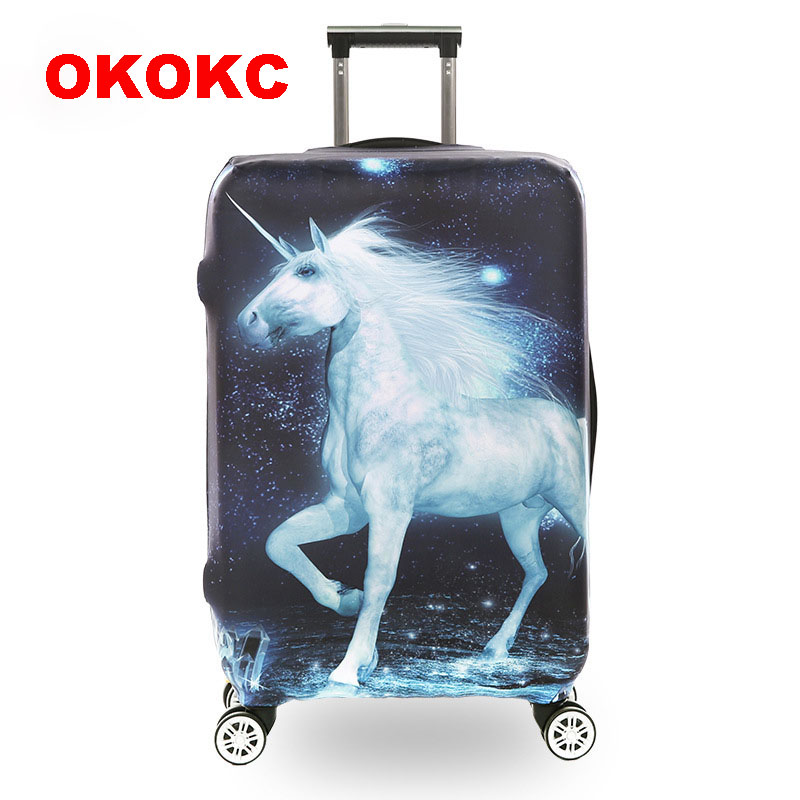 OKOKC Horse Animal Prints Thickest Luggage Cover Travel Suitcase Protective Cover For 18-30'' Case Elastic, Travel Accessories