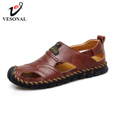 VESONAL Summer Genuine Leather Non-slip Outdoor Hiking Large Size Shoes Men Casual Sandals Breathable Comfortable Beach Sandals Pakistan