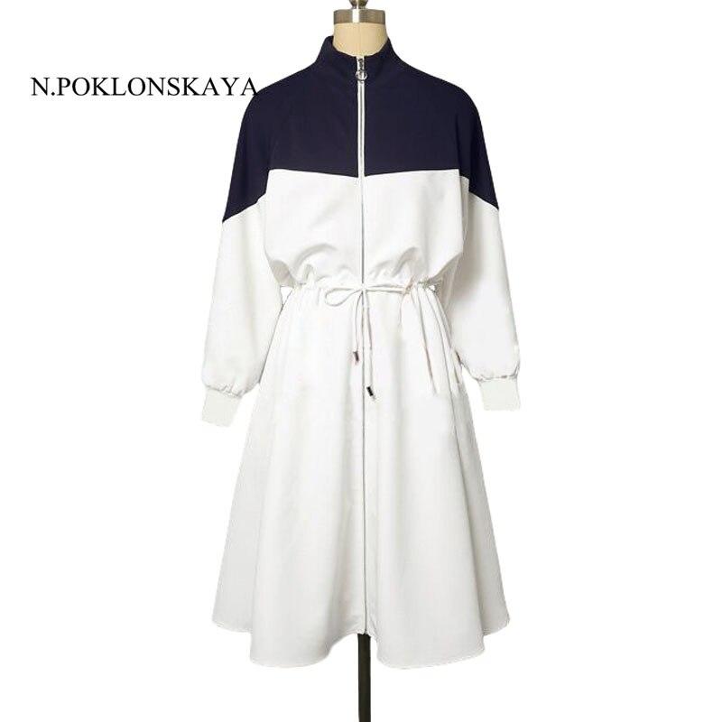Casual Women Dress Spring Stand Blue White Bow Zipper Korean Style Elegant Female Runway Midi Dresses Vestidos womens clothing