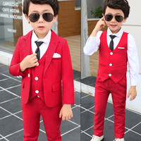 2018 5Pcs Fashion boys blazers boy clothes formal kids blazer Kids Prom outerwear Child Clothings Weddings Suit Hot Sale S8O401A