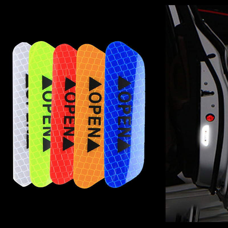 4 Pcs Car Door Safety Warning Reflective Stickers OPEN Sticker Long-distance Reflective Paper Anti-collision Decorative Sticker