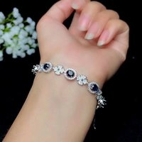 shilovem 925 silver sterling real Natural sapphire Bracelets fine Jewelry trendy party Christmas gift new 4*5mm bl0405088agl