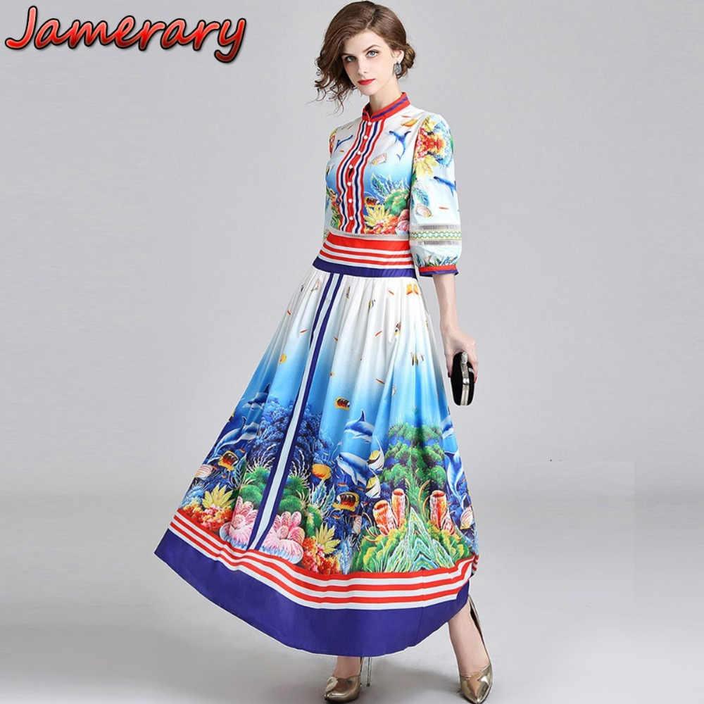 65d0ff8a3efc Women Runway Dress Designer Vintage 3/4 Lantern Sleeve Summer Autumn Long  Dresses Ocean Fishes