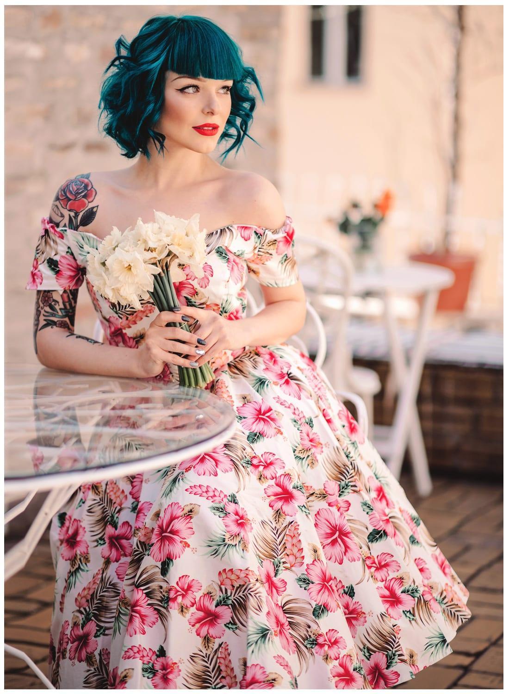 US $60.34 29% OFF 30 summer women vintage 50\'s hawaiian Tiki circle swing  dress in pink plus size dresses rockabilly vestidos pin up jurken-in  Dresses ...