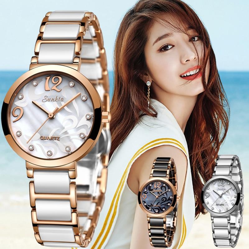 Sunkta Women Watches Top Brand Luxury Ceramic Waterproof Watch Women Casual Fashion Diamond Clock Quartz Ladie Watch Reloj Mujer