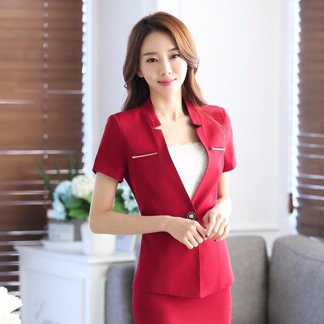 New 2018 Summer Formal Red Blazer Women Jackets Short Sleeve Ladies Work Wear Business Clothes Office Uniform Style