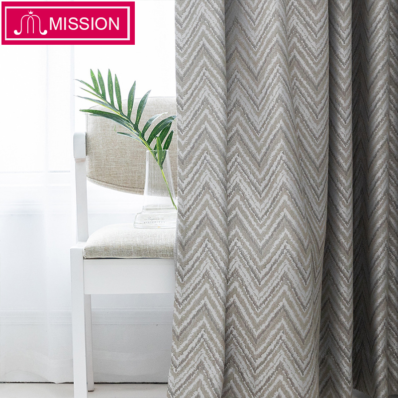 MISSION Luxurious Cotton and Linen Jacquard Wave Window Blackout Curtains Drapes Blinds for Bedroom Living Room Custom Made(China)