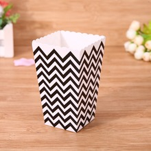 12pcs Colorful Mini Waves&Spots pattern Paper Popcorn Boxes Wedding Birthday Movie Party Supplies Candy Snack Favor Bag