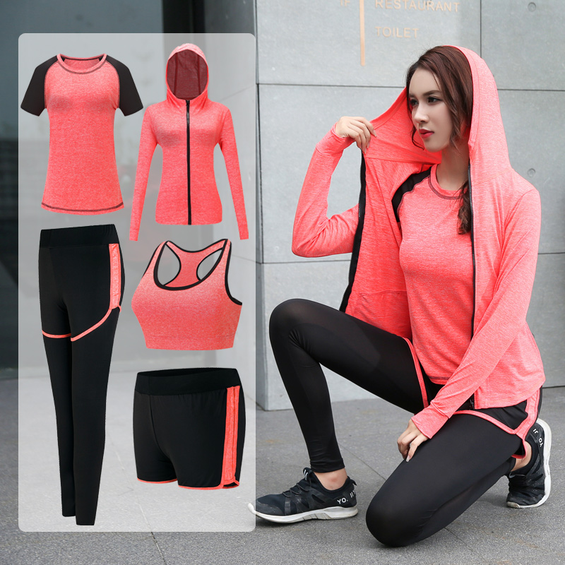 2018 Women Yoga sets quick dry sportwear gym leggings female t shirt costume fitness tights suit top 5 pieces yoga set new cool