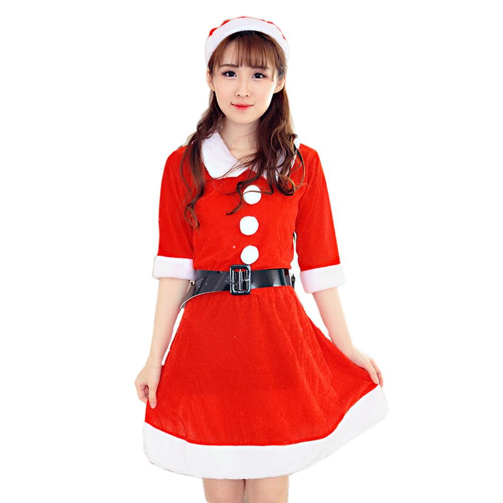 Red christmas dress clothes for women santa red costume fancy dress