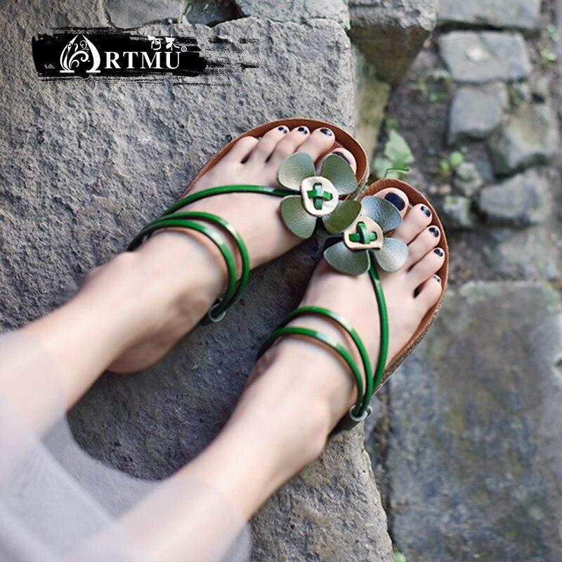 Artmu 원래 달콤한 암소 가죽 꽃 여성 샌들 수제 편안한 부드러운 단독 플랫 슬리퍼 019 8 착용 두 가지 방법-에서슬리퍼부터 신발 의  그룹 1