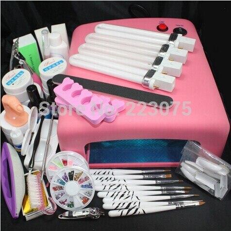 Hot Pro 36W UV GEL Pink Lamp & 8 Brush Nail Art Tool Sets pro 36w uv gel pink lamp